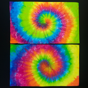 Hot pink, orange, fluorescent yellow, lime green, electric blue tie dye pillowcases