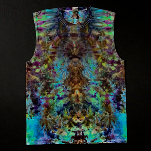 Men's Large Psychedelic Mindscape Ice Dye Muscle Tank Top