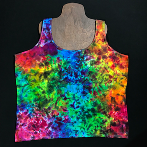 Women's 3XL Rainbow Splatter Tie Dye Racerback Tank Top
