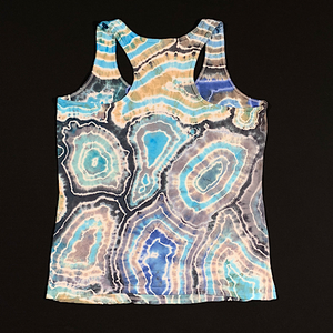 Women's Medium Blue Agate Geode Racerback Tie Dye Tank Top