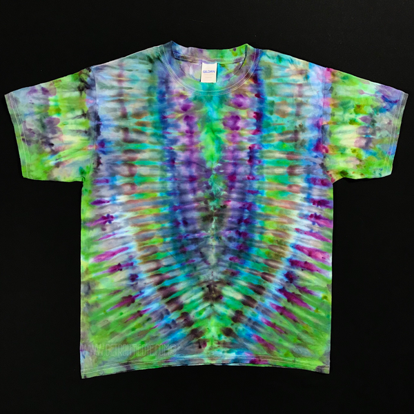 Youth Large Psychedelic Symmetry Ice Dye T-Shirt