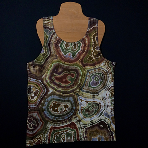 Front Side of Earthy Natural Agate Geode Design Tie Dye Tank Top Featuring Primarily Shades of Brown with a Hint of Gray