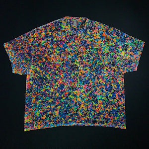 Size 5XL tie dye shirt featuring dozens of shades of rainbow colors in Our exclusive, extraordinarily unique splatter pattern tie dye design.