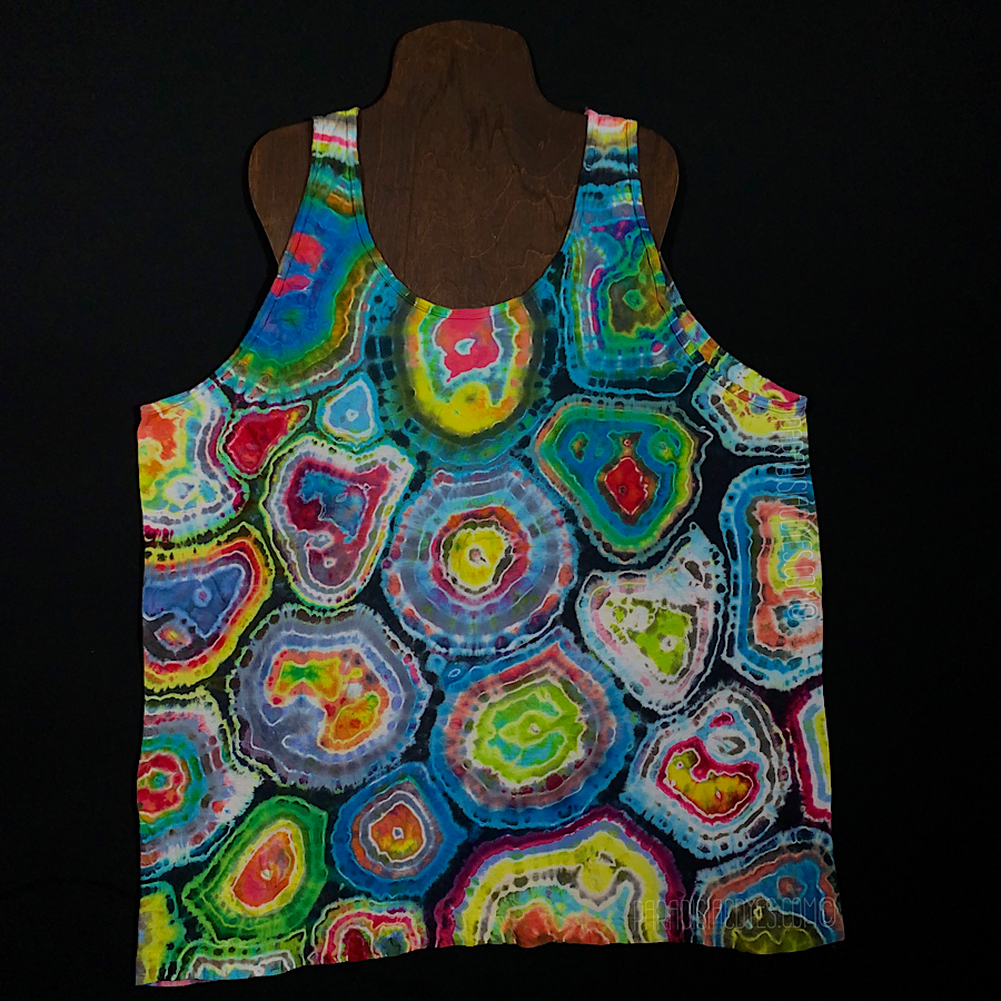 Size XL Geode Pattern Tie Dye Tank Top Featuring Pastel Rainbow Colors and a Hint of Intense Contrasting Charcoal Gray
