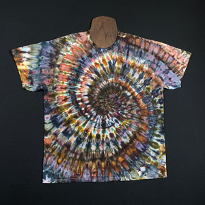 Neutral Earthy Ice Dye Spiral T-Shirt