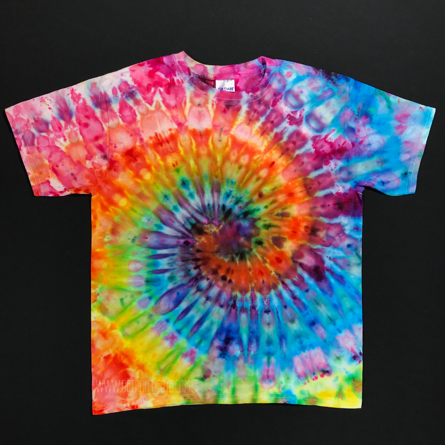 Youth Large Rainbow Spiral Ice Dye T-Shirt
