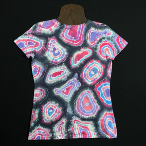 Women's Small Pastel Geode V-Neck Tie Dye T-Shirt