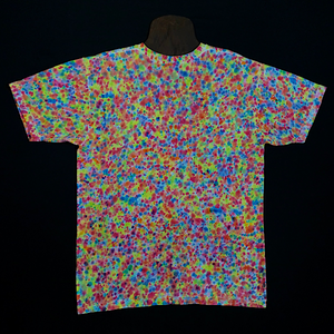 Back Side of Size Large American Apparel V-Neck Tie Dye T-Shirt Featuring Rainbow Colors in a Paint Splatter Reminiscent Pattern