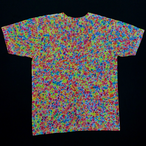 Back Side of American Apparel Fine Jersey V-Neck Featuring Splatter Tie Dye Pattern with Neon Rainbow Colors