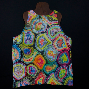 Back side of Size XL Geode Pattern Tie Dye Tank Top Featuring Pastel Rainbow Colors and a Hint of Intense Contrasting Charcoal Gray