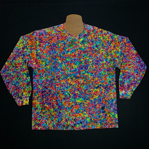 Size 2XL Gildan long sleeve tie dye shirt featuring countless rainbow colors in our supreme splatter pattern tie dye design. Also sometimes referred to as the crinkle, crumple or scrunch tie dye fold.