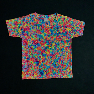 Toddler size 4T Gildan Heavy Cotton tie dye t-shirt featuring hot pink, fluorescent yellow and electric blue shades in our exclusive supreme splatter pattern tie dye design. Also known as the speckled, marbled, crinkle, crumple or scrunch tie dye fold.