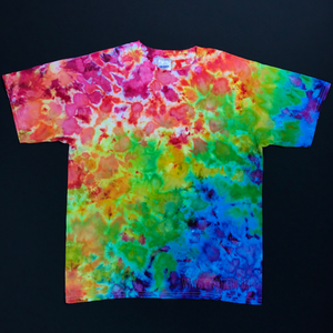 Youth XL Rainbow Splatter Ice Dye T-Shirt