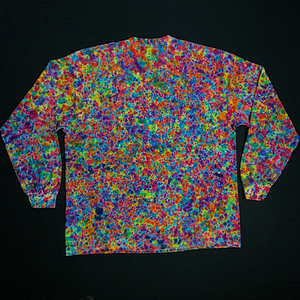 Size 2XL Rainbow Pebbles Splatter Pattern Long Sleeve Shirt