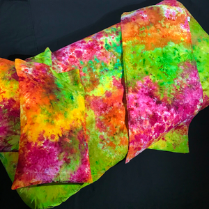 Handmade Neon Rainbow 4 Piece Tie Dye Bedding Set