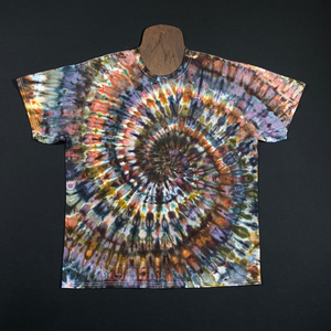 Neutral Earthy Ice Dye Spiral T-Shirt (Sizes SM-3XL)