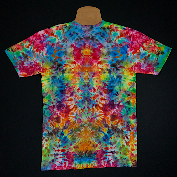 size adult medium American Apparel Unisex Fine Jersey V-Neck T-Shirt Hand Dyed in a Trippy Symmetrical Ice Dye Design with Classic Rainbow colors, including: red, orange, yellow, green and blue