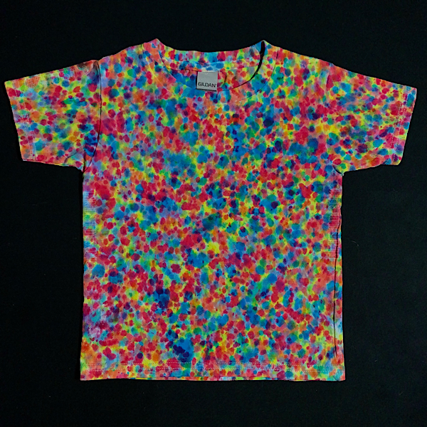 Size 4T toddler tie dye shirt featuring vibrant rainbow colors, including: blue, pink and yellow shades in a speckled paint splatter inspired tie dye pattern. Also similar to the crinkle, crumple or scrunch tie dye design.