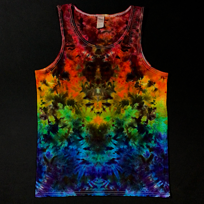 Men's Medium Psychedelic Mindscape Rainbow Ice Dye Tank Top