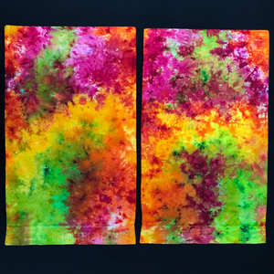 Set of (2) Custom Made Neon Splatter Tie Dye Pillowcases