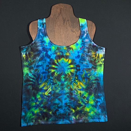 Women's Large Psychedelic Mindscape Ice Dye Racerback Tank Top