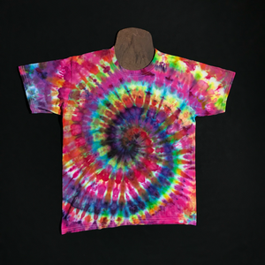 Size Youth Large Rainbow Spiral Ice Dye T-Shirt
