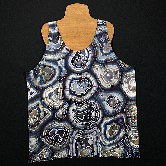 Front side of adult XL Tank top featuring an agate geode reminiscent pattern with black, white and multiple shades of gray