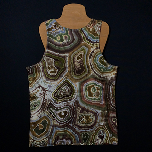 Back Side of Earthy Natural Agate Geode Design Tie Dye Tank Top Featuring Primarily Shades of Brown with a Hint of Gray