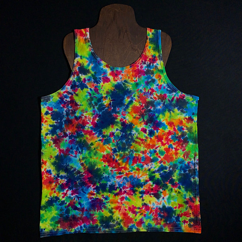 Men's Large Rainbow Splatter Tie Dye Tank Top