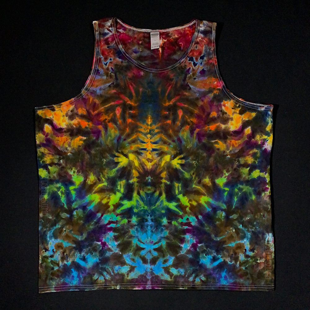 Men's 3XL Psychedelic Rainbowscape Ice Dye Tank Top