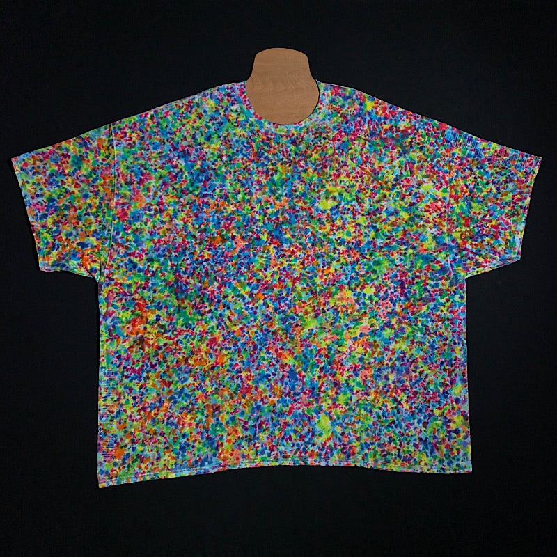 Size adult 5X tie dye short sleeve shirt featuring countless rainbow colors in our exclusive, wildly unique splatter pattern tie dye design