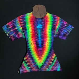 Youth Large Rainbow Psychedelic Symmetry Ice Dye T-Shirt