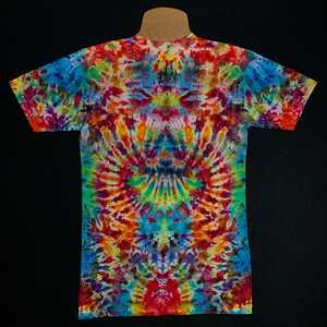 Size small v-neck tie dye t-shirt Featuring rainbow colors, including: red, orange, yellow, green and blue shades in a mesmerizing symmetrical mindscape design