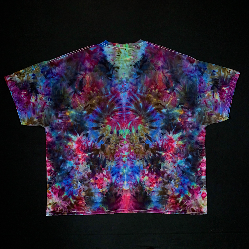 Size 4XL Psychedelic Floralscape Ice Dye T-Shirt