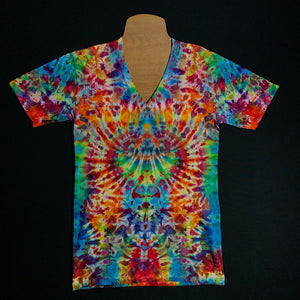 Size small American Apparel fine jersey v-neck shirt featuring a symmetrical psychedelic mindscape pattern with traditional rainbow colors, including: red, orange, yellow, green and blue shades in a mesmerizing ice dyed design