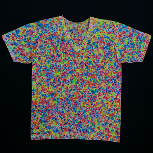 Front Side of American Apparel Fine Jersey V-Neck Featuring Splatter Tie Dye Pattern with Neon Rainbow Colors