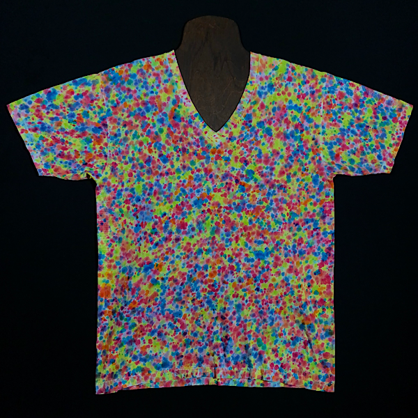 Size Large American Apparel Fine Jersey V-Neck T-Shirt Featuring a Vibrant Explosion of Rainbow Colors in a Paint Splatter Reminiscent Design.