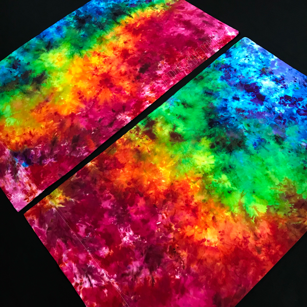 Custom made rainbow tie dye pillowcases