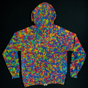 Size Large Rainbow Splatter Pattern Tie Dye Zip-Up