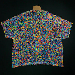 Size Adult 5XL Gildan Short Sleeve Shirt Featuring Our Exclusive, Supreme Splatter Pattern Tie Dye Design - Boasting Countless Rainbow Colors in (also known as) a Speckled, Crinkle or Scrunch Tie Dye Fold