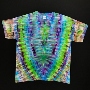 Blue, Green, Purple Psychedelic Symmetry Tie Dye T-Shirt Design