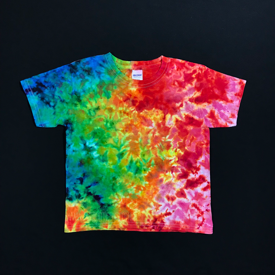 Youth XS Rainbow Splatter Ice Dye T-Shirt