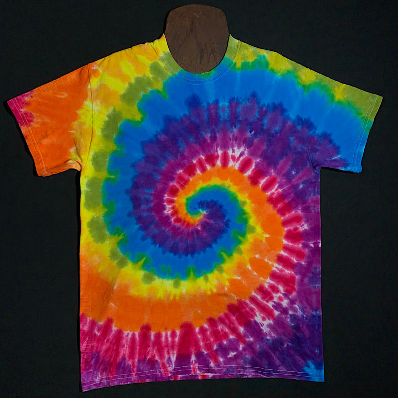 Spiral Tie Dye Short Sleeve Shirt With Red, Orange, Yellow, Green, Blue and Purple