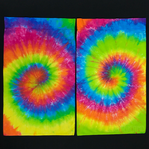 Set of two neon rainbow spiral tie dye pillowcases