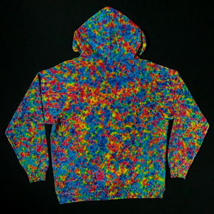 Size XL Rainbow Splatter Pattern Tie Dye Zip-Up Hoodie