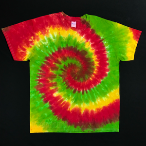 Custom Made Tie Dye Shirts Rasta Spiral Tie Dye T-Shirt Sizes SM-3XL