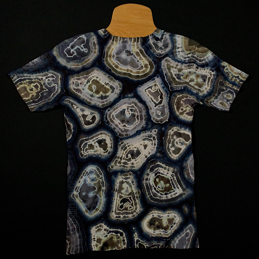 Size XS American Apparel Fine Jersey Unisex V-Neck T-Shirt in a Geode Pattern with Black, Gray and White Shades.