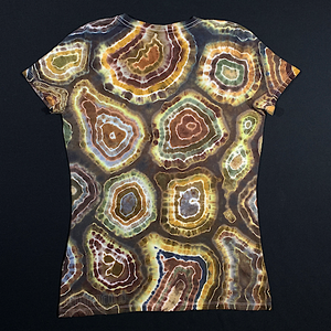 Women's Medium Natural Agate Geode V-Neck Tie Dye T-Shirt