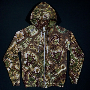Size Medium Earthy Agate Geode Zip-Up Hoodie