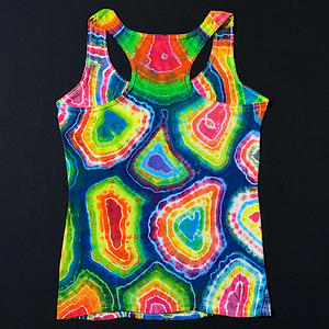 Women's Small Rainbow Geode Tie Dye Racerback Tank Top